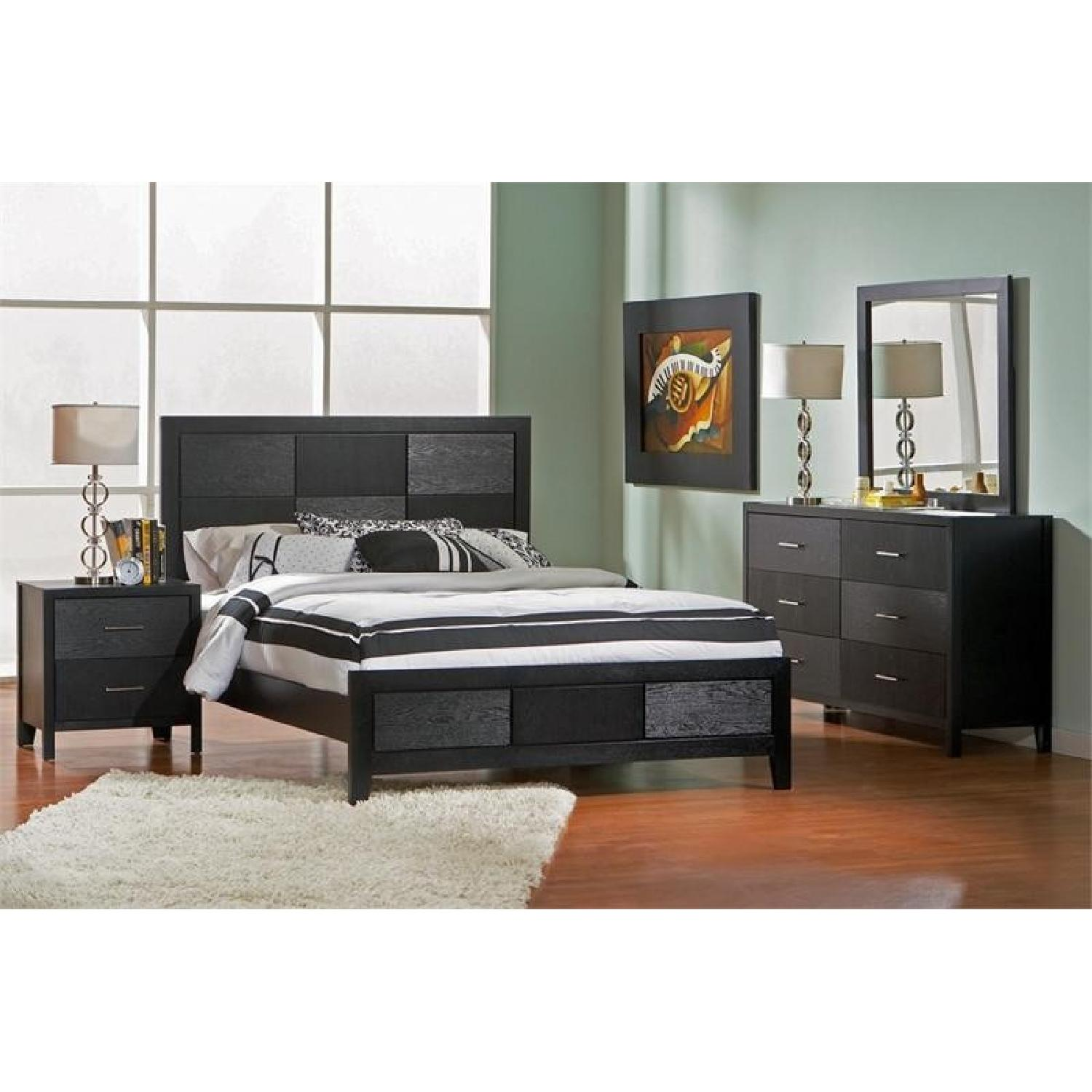 Modern Style 2 Drawer Nightstand In Black Finish W Silver Handles