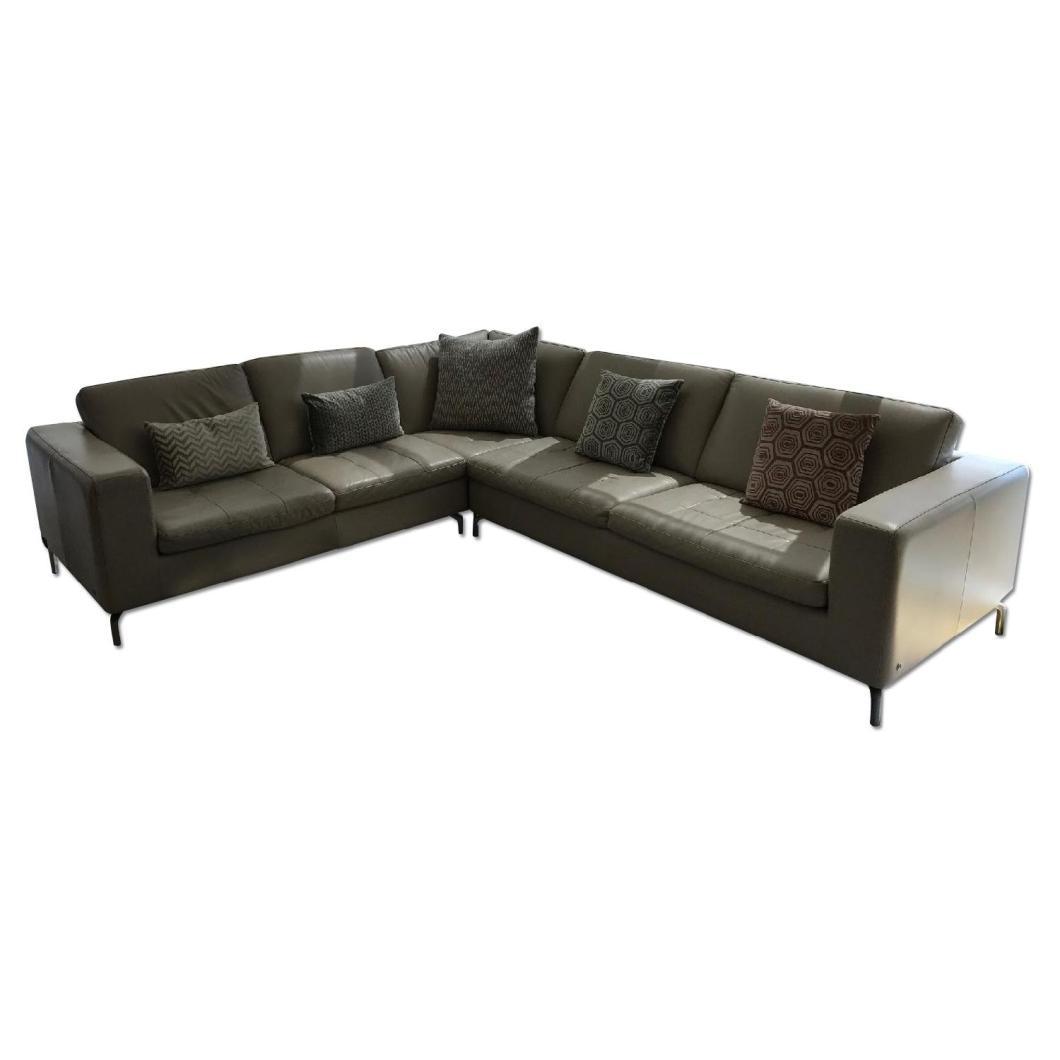 Natuzzi Savoy 5 Seat Sectional Corner Sofa In Taupe