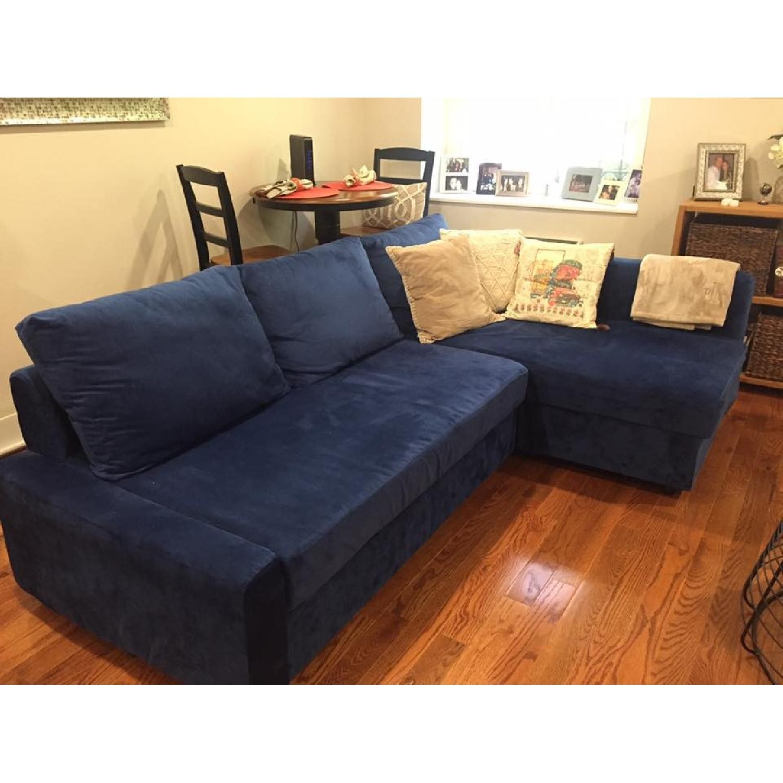 ikea friheten blue suede sofa bed w reversible chaise