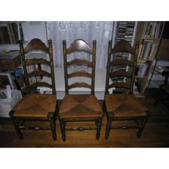 Antique Ladder Back Chairs With Rush Seats Amazon Dog Chair Covers Ethan Allen Vintage Ladderback Seat Set Of