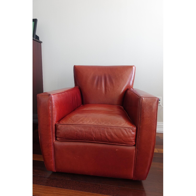 Crate Barrel Red Leather Swivel Armchair Aptdeco