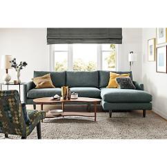 Sofa W Chaise Dog Jumps On Vine Room And Board Jasper In Grey Blue Aptdeco