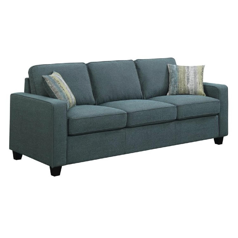 track arm sofa shabby chic sleeper in blue linen like fabric aptdeco