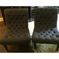 One Kings Lane Chairs Circle Chair Name Gray Tufted Armless Pair Aptdeco