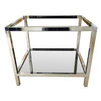 Mid Century Chrome Side Table w/ Smoked Glass - AptDeco