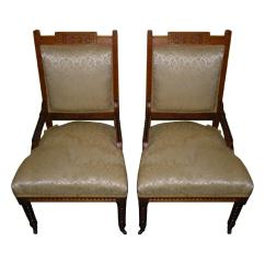 Victorian Accent Chairs Ciao High Chair Antique Rope Twist Upholstered Pair