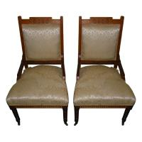 Antique Victorian Rope Twist Upholstered Chairs - Pair ...