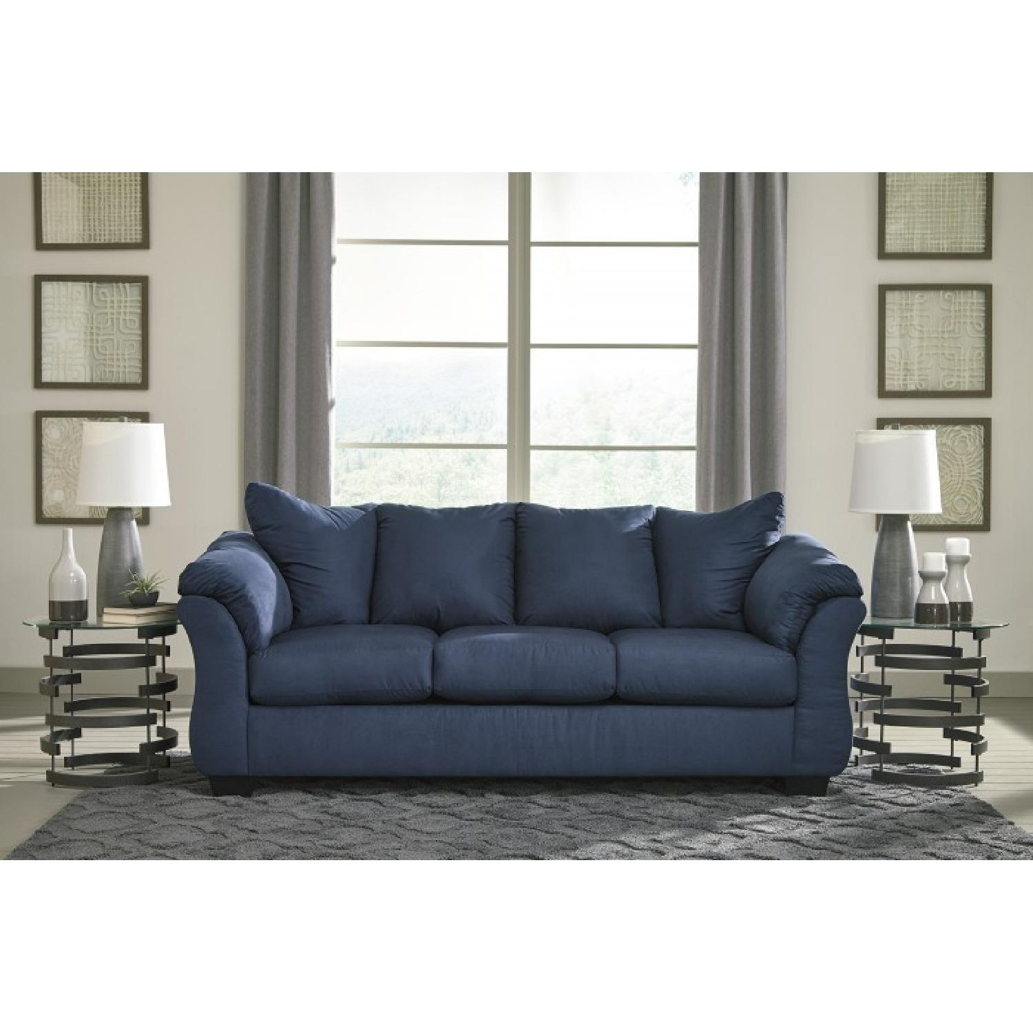 ashley furniture darcy sofa sleeper lorenzo blue full aptdeco