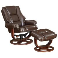 Swivel Recliner Chair & Ottoman Set in Brown - AptDeco