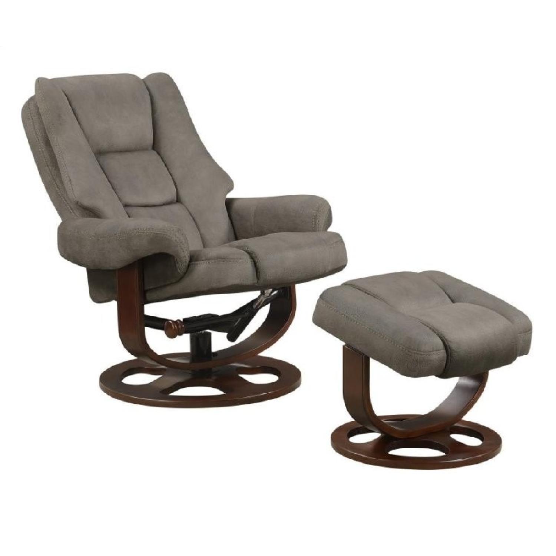 Swivel Recliner Chair  Ottoman Set in Grey Microfiber