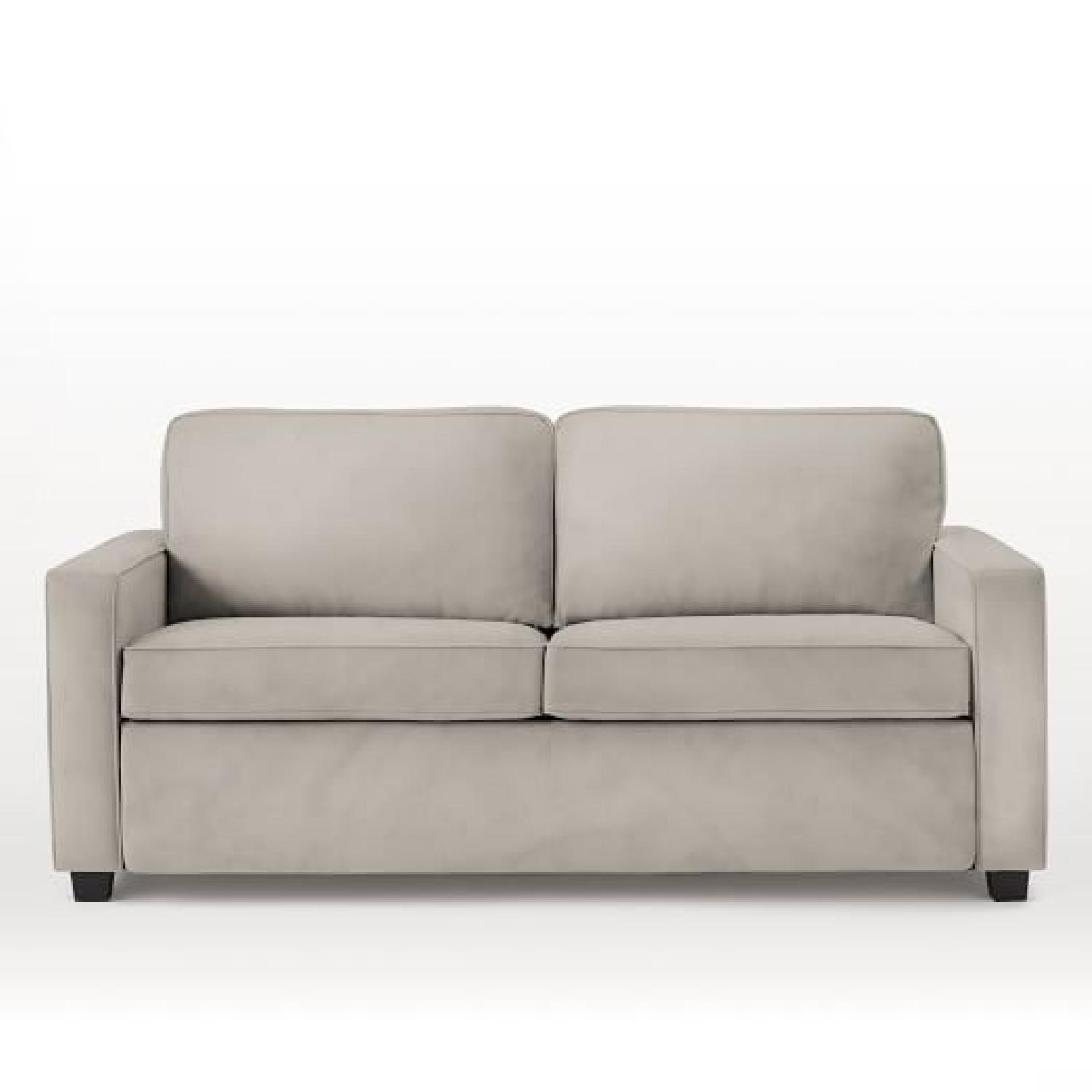 pottery barn deluxe sleeper sofa reviews how much does it cost to recover a bed west elm henry in silver poly lustre aptdeco
