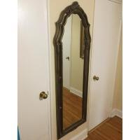Full-Length Mirror w/ Carved Floral Motif Wood Frame - AptDeco