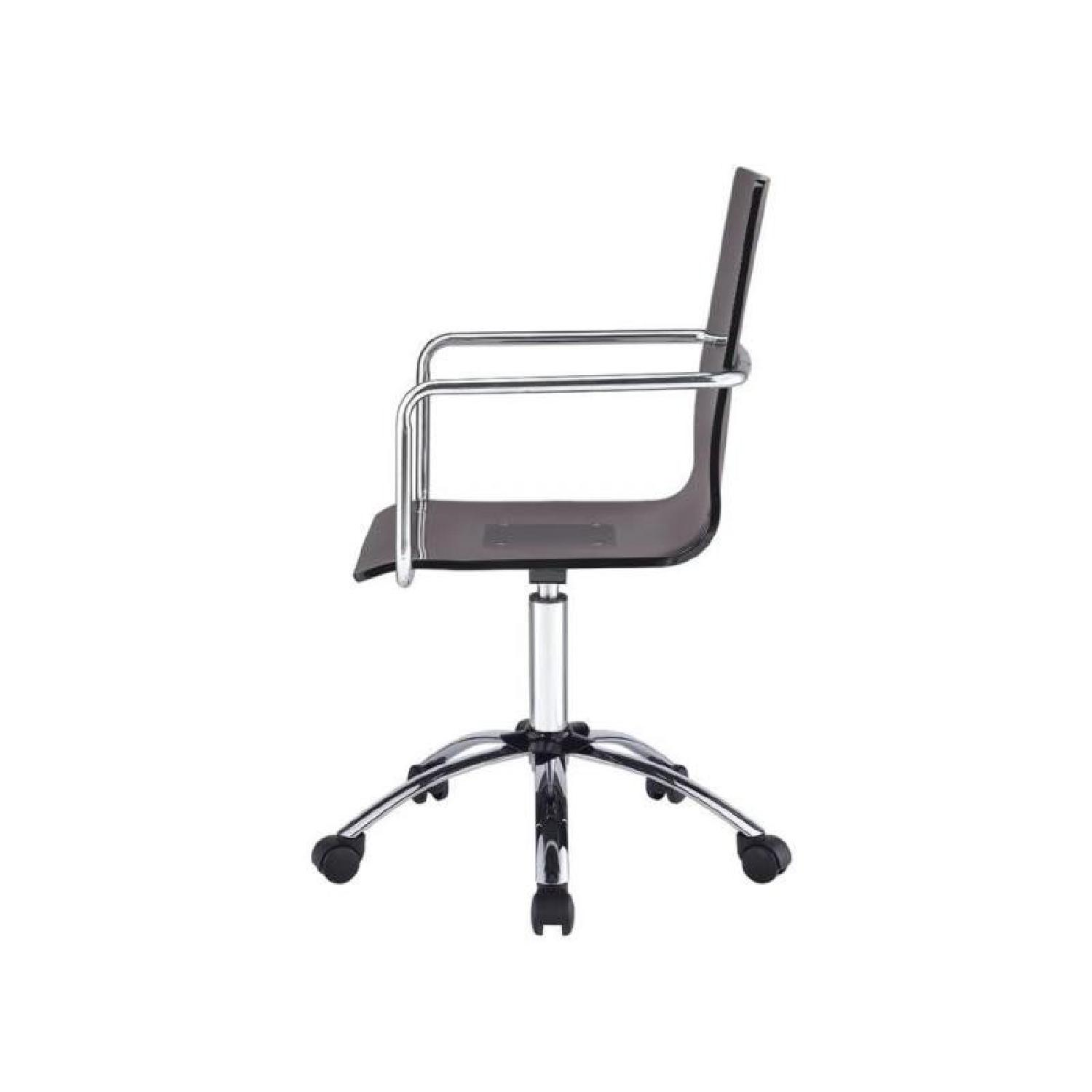 office chair steel base with wheels mesh outdoor chairs smoked acrylic w aptdeco