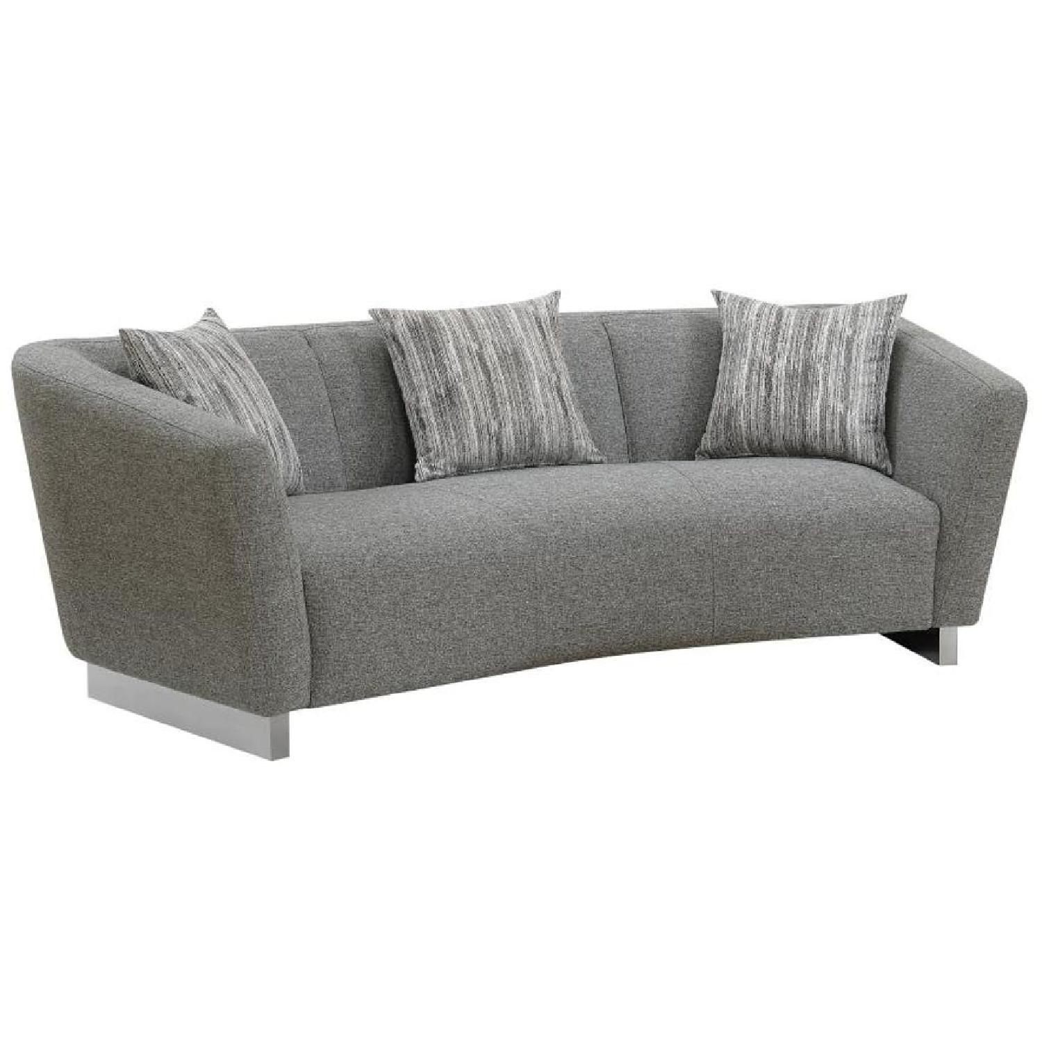 modern twine curved arm sofa leather master back w grey woven fabric and steel aptdeco