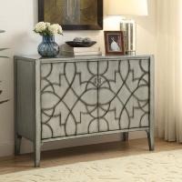 Modern Accent Cabinet in Light Grey w/ Carved Details ...