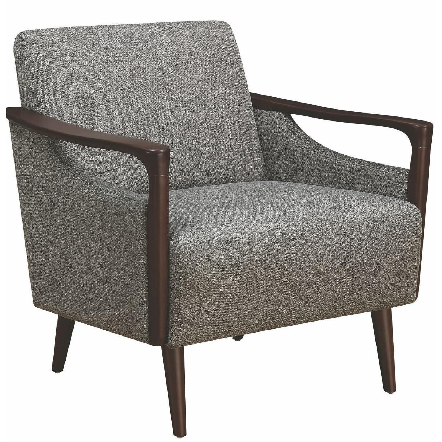 MidCentury Modern Accent Chair in Grey Fabric w Wood