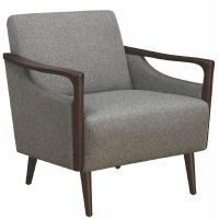 Mid-Century Modern Accent Chair in Grey Fabric w/ Wood ...