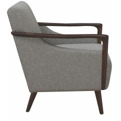 Contemporary Accent Chairs With Arms Party Rentals Mid Century Modern Chair In Grey Fabric W Wood