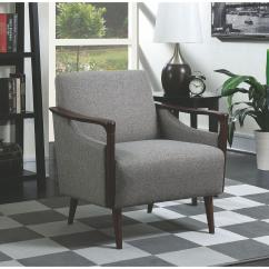 Contemporary Accent Chairs With Arms Tufted Parsons Dining Chair Mid Century Modern In Grey Fabric W Wood