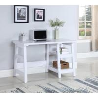 Simple Writing Desk w/ Tier Shelves in White Finish - AptDeco