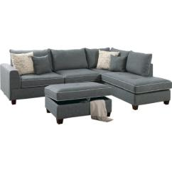 Reversible Sectional Sofa Chaise Queen Sleeper Ikea 3 Piece In Steel Fabric Aptdeco