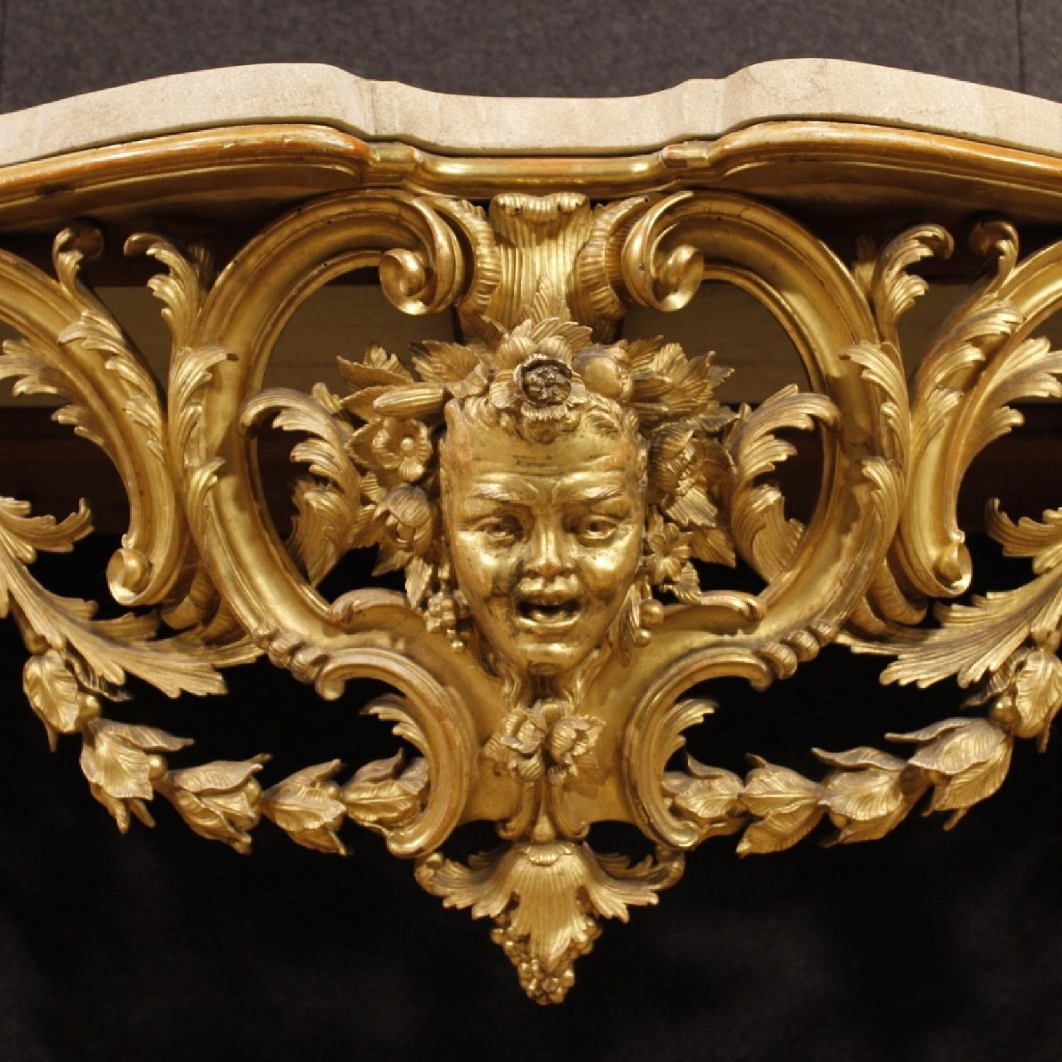 louis xiv style italian console table in golden wood