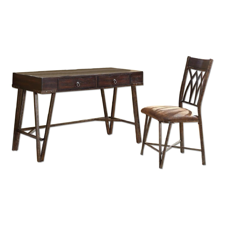 Dark Brown Writing Desk  Chair  AptDeco