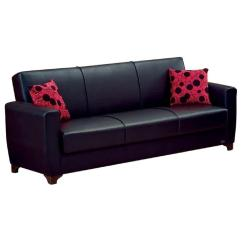 Pu Leather Sofa Reviews Modern Sectional Made In Usa Black Bonded Upholstery Convertible Aptdeco
