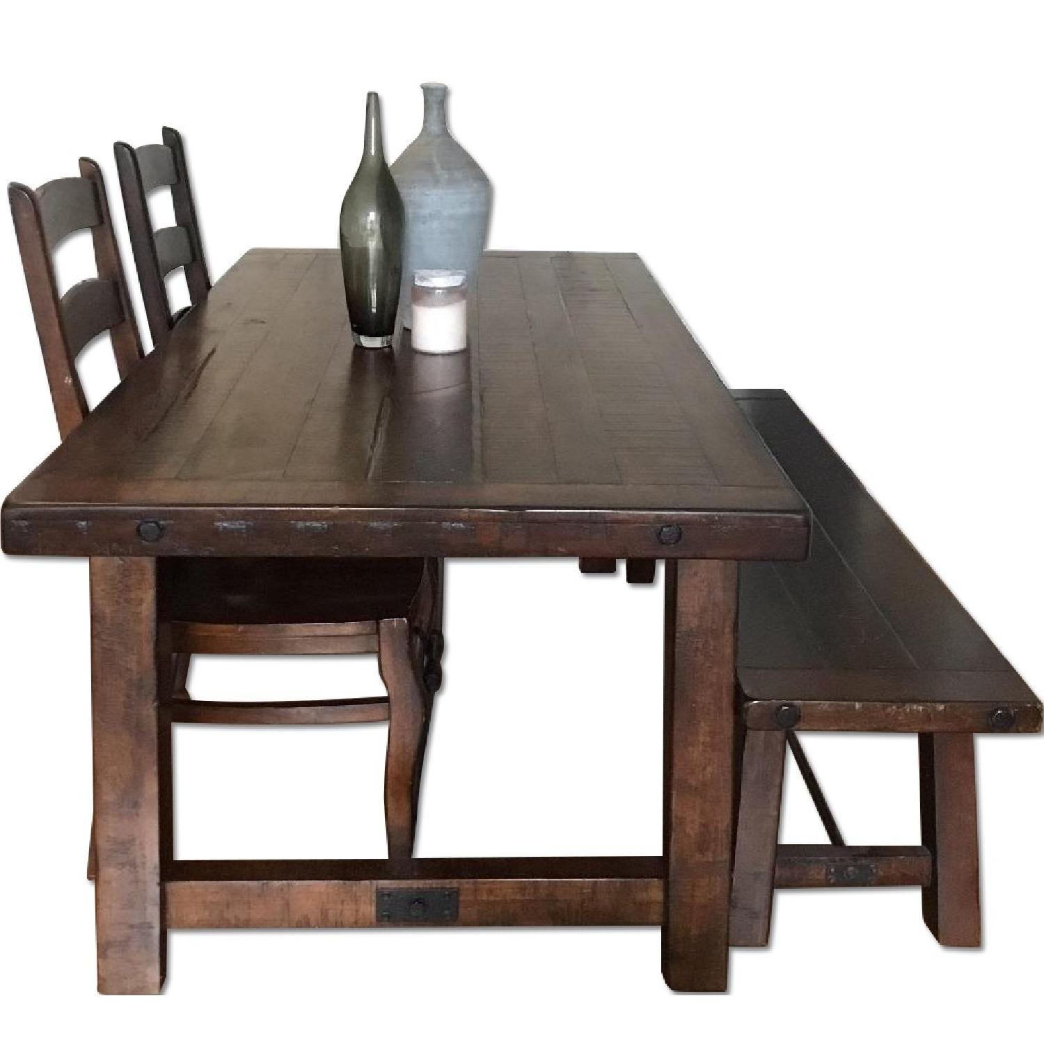 pottery barn benchwright dining table w 1 bench 2 chairs