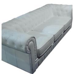White Chesterfield 3 Seater Sofa England Sleeper Mattress In Soft Premium Leather Aptdeco
