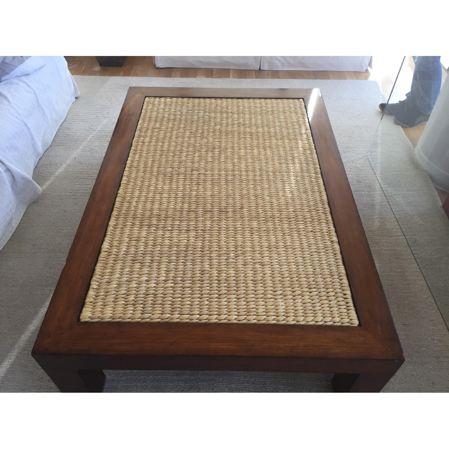 ralph lauren seagrass wicker ottoman coffee table