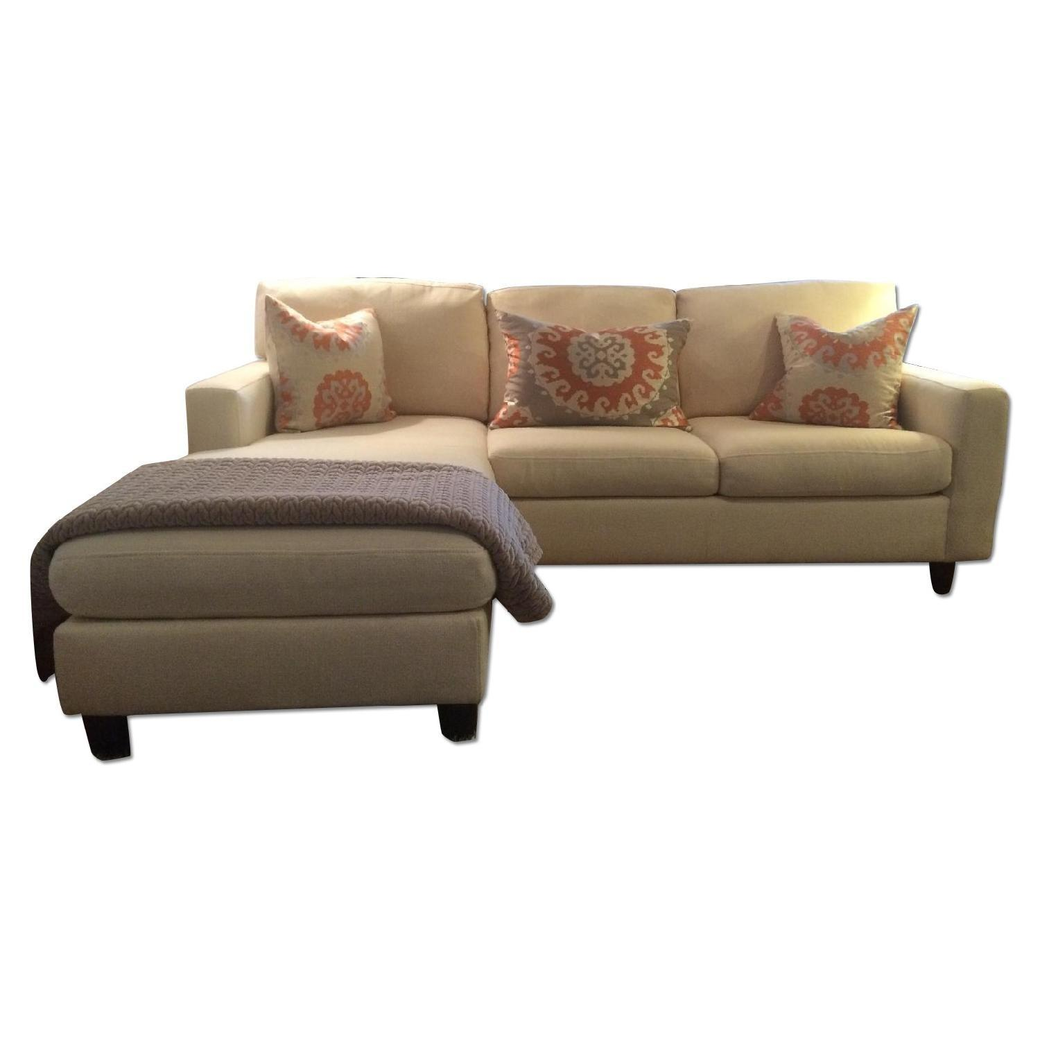 sofa w chaise how to replace cushion covers desi living ivory tweed sleeper optional