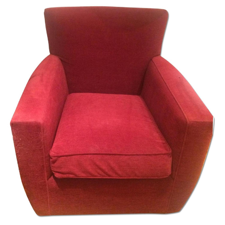 Crate Barrel Red Swivel Chairs Pair Aptdeco