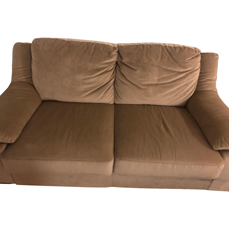 macys sofa pillows leather sectional sofas toronto macy 39s beige suede 2 seater w throw aptdeco
