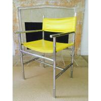 Mid Century Chrome Arm Chair in Yellow - AptDeco