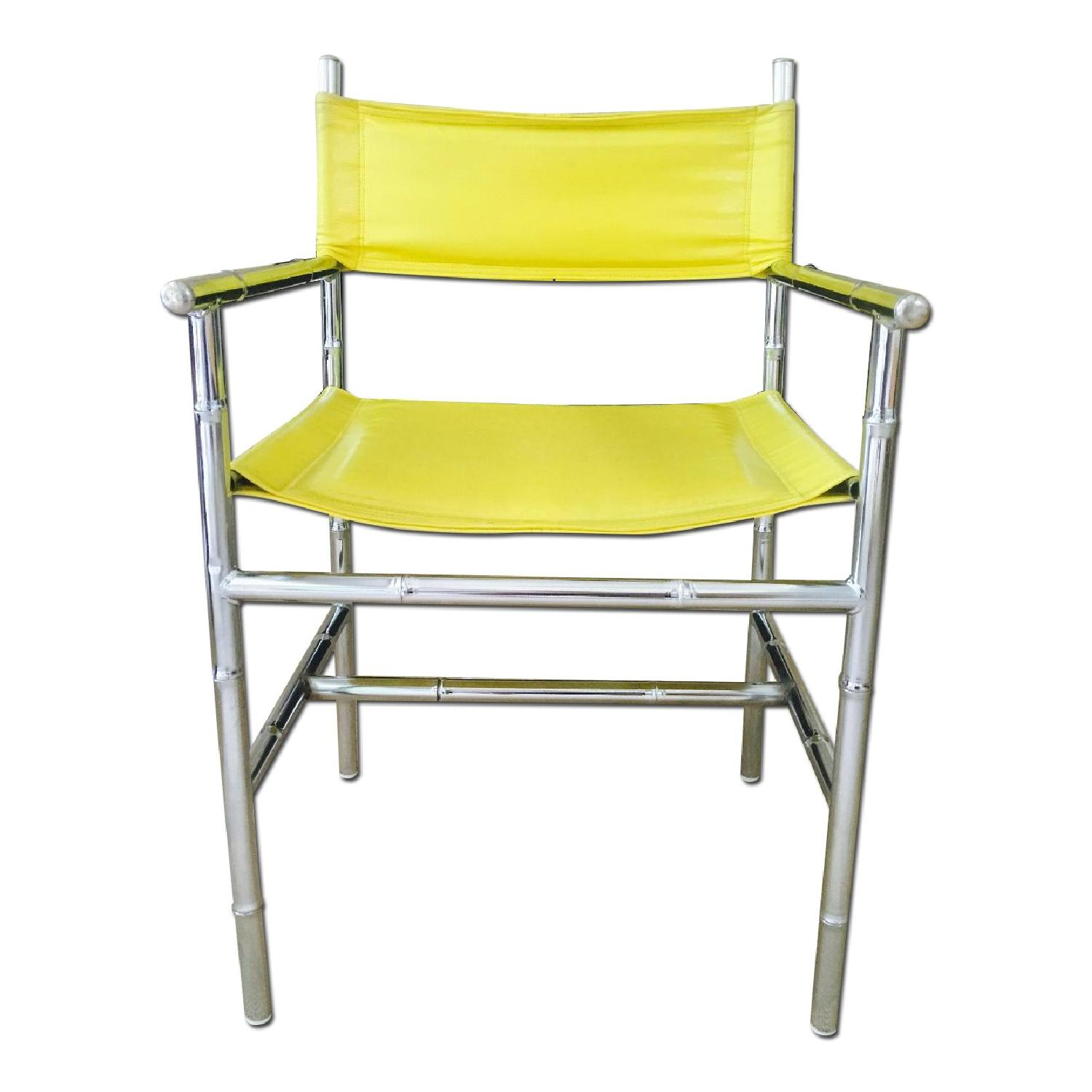 mid century accent chair old rocking chairs chrome arm in yellow aptdeco