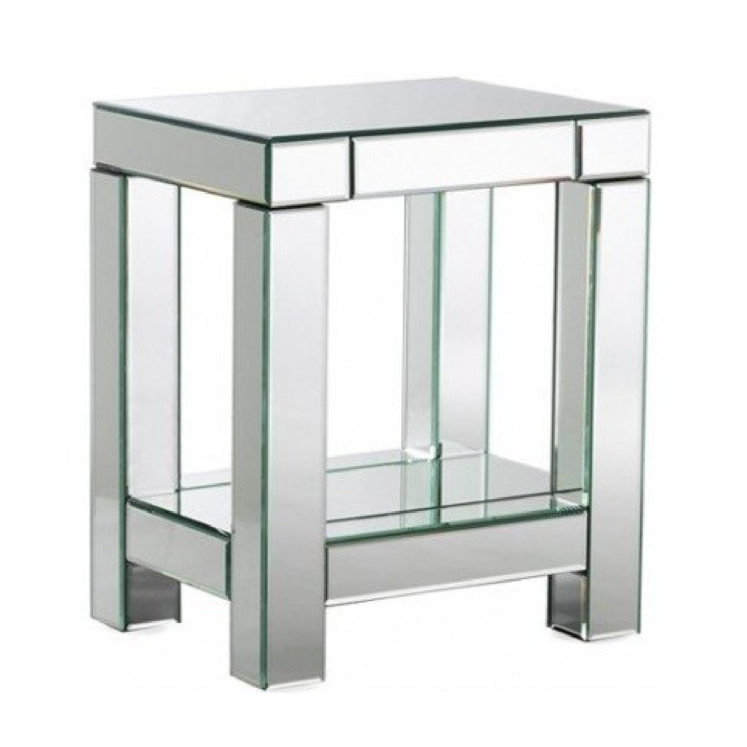 West Elm Mirrored Parsons End Table Nightstand
