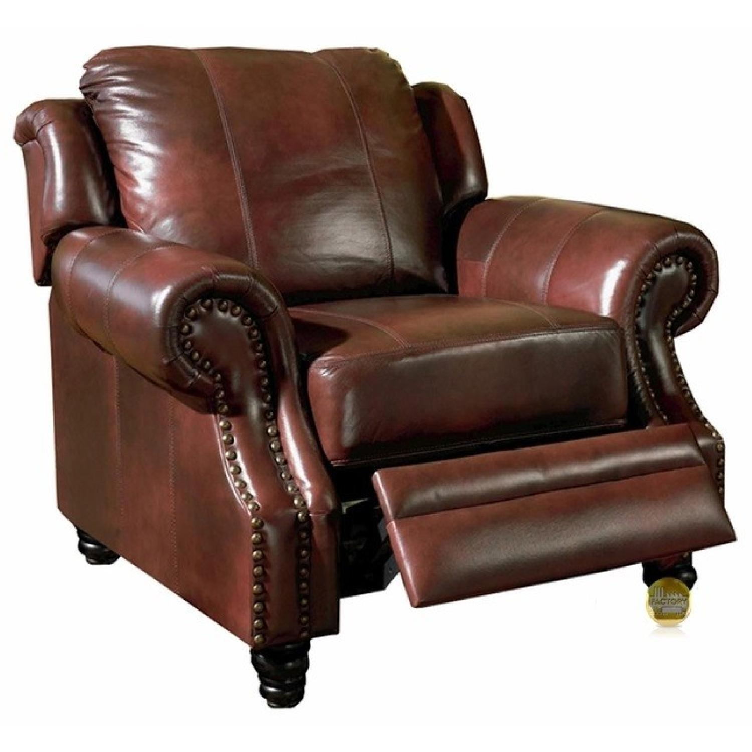 PushBack Recliner Chair in Burgundy Leather Match  AptDeco