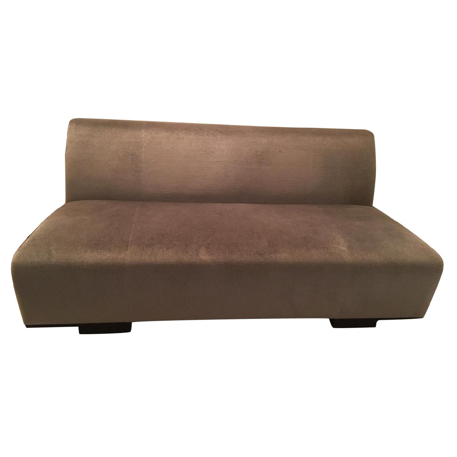 gray velvet sofa with nailheads leather spain holly hunt dark sectional w