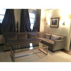 Holly Hunt Sofa Cost Rugs To Go With Chocolate Brown Dark Gray Velvet Sectional W Nailheads