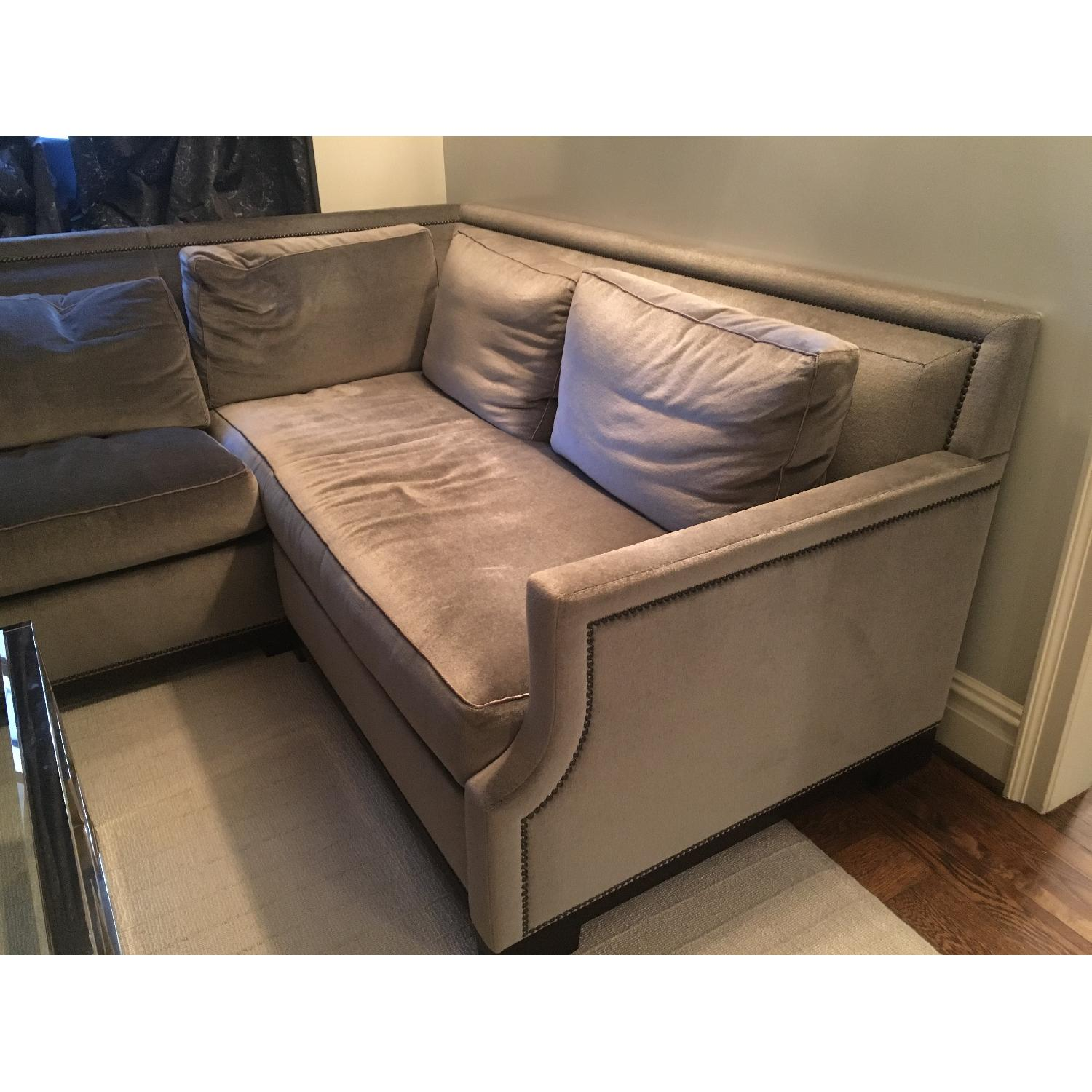 holly hunt sofa cost monarch specialties mirrored 38 console table with drawers dark gray velvet sectional w nailheads