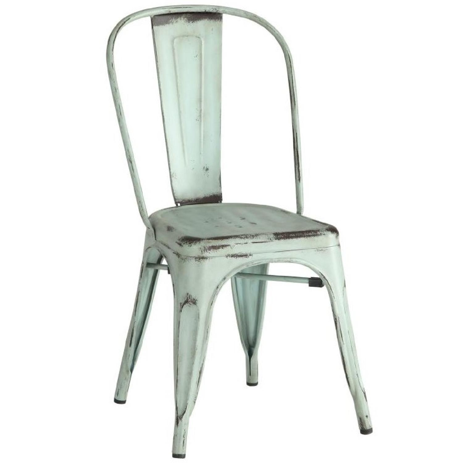 rustic metal dining chairs black and white chair galvanized in antique green aptdeco