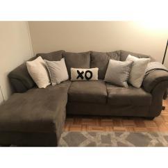 Sofa W Chaise Dark Brown Microfiber Reclining Raymour And Flanigan Whitman Sectional Aptdeco