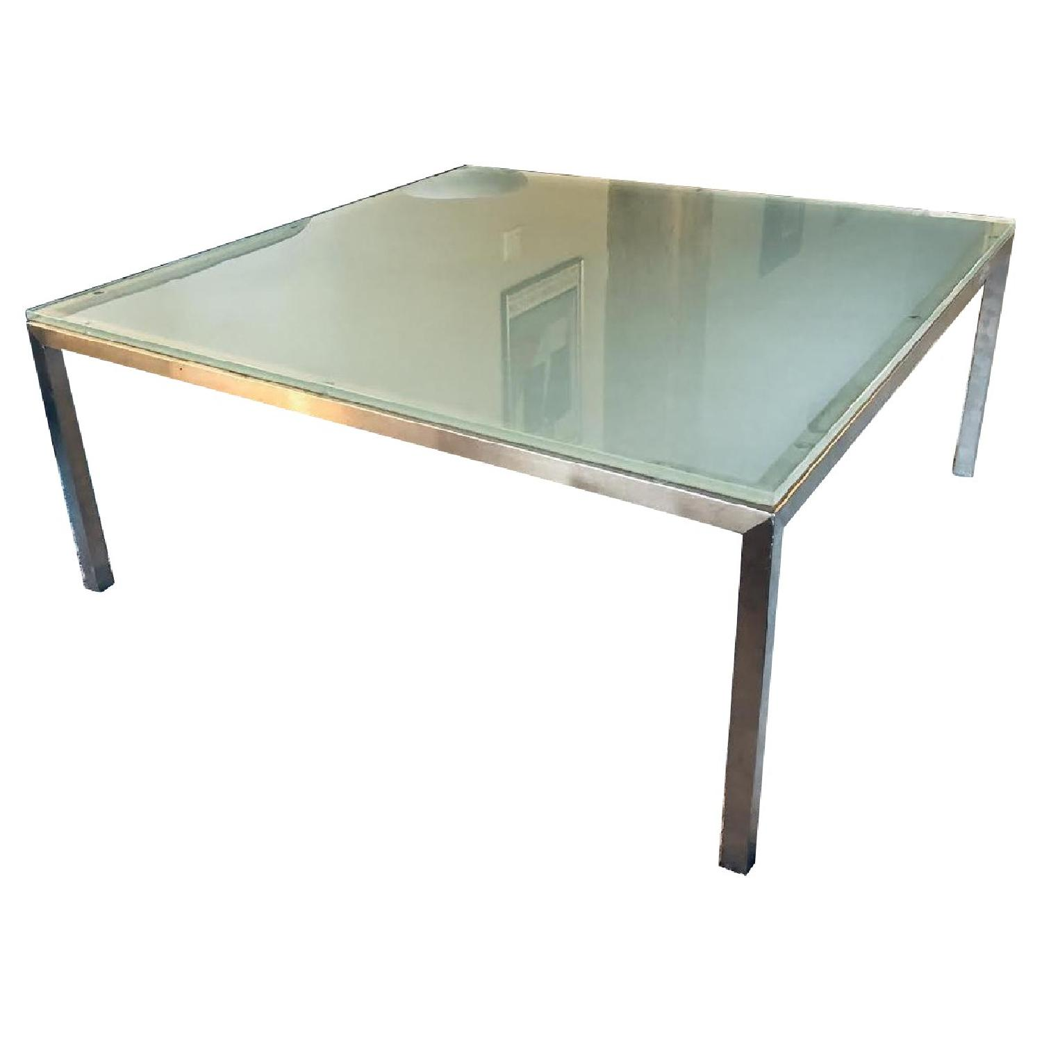 crate barrel parsons frosted glass top coffee table