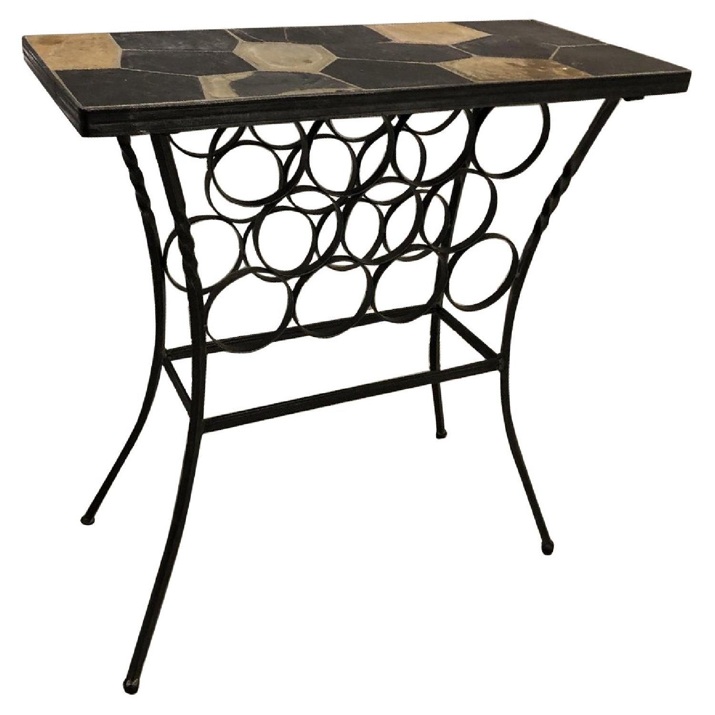 pier 1 slate iron wine rack table