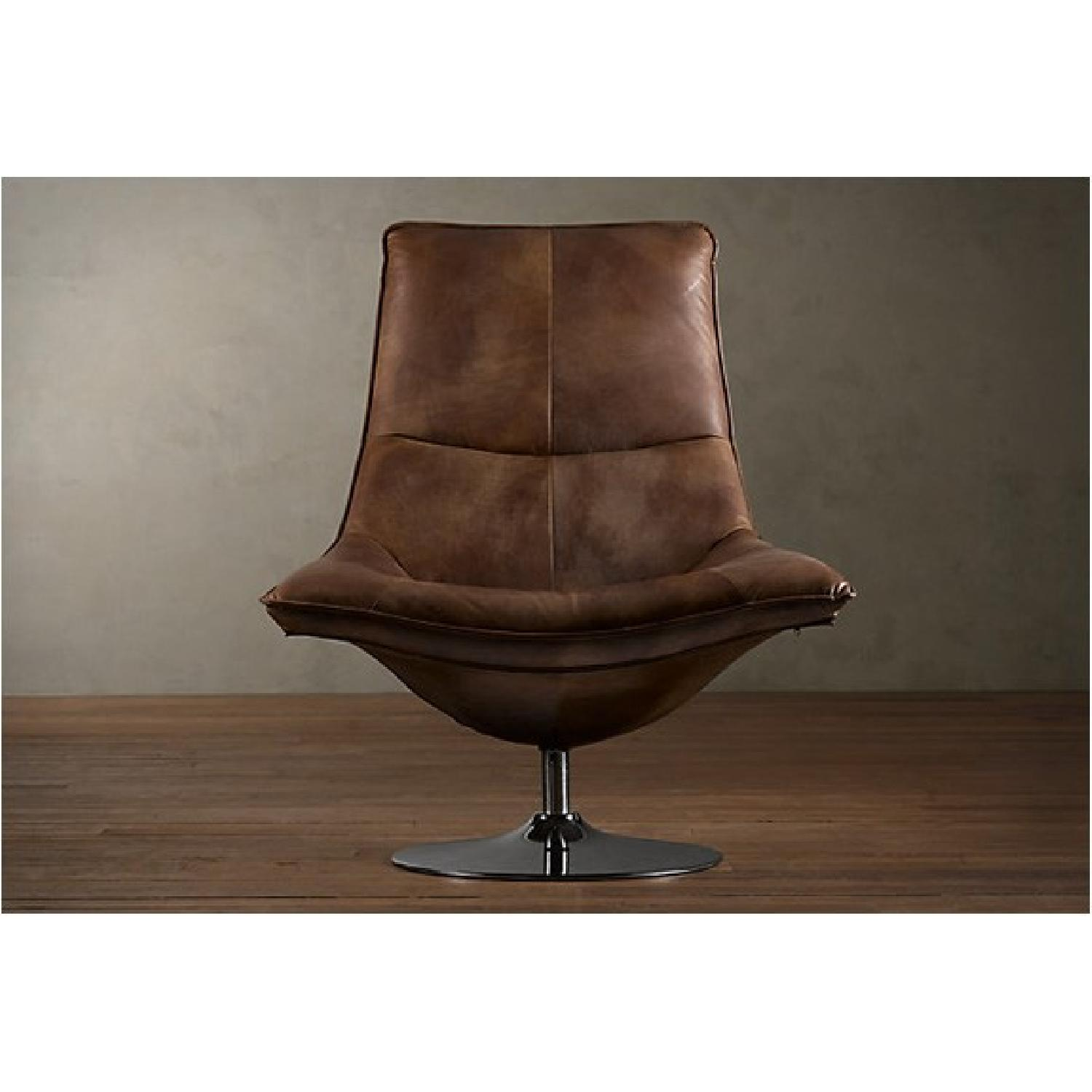 Restoration Hardware Leather Chairs Restoration Hardware Leather Hopper Bucket Chair In Chestnut