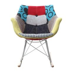 Ab Rocker Chair Hanging From Roof Rocking W Colorful Fabric Print In Abs Frame Aptdeco
