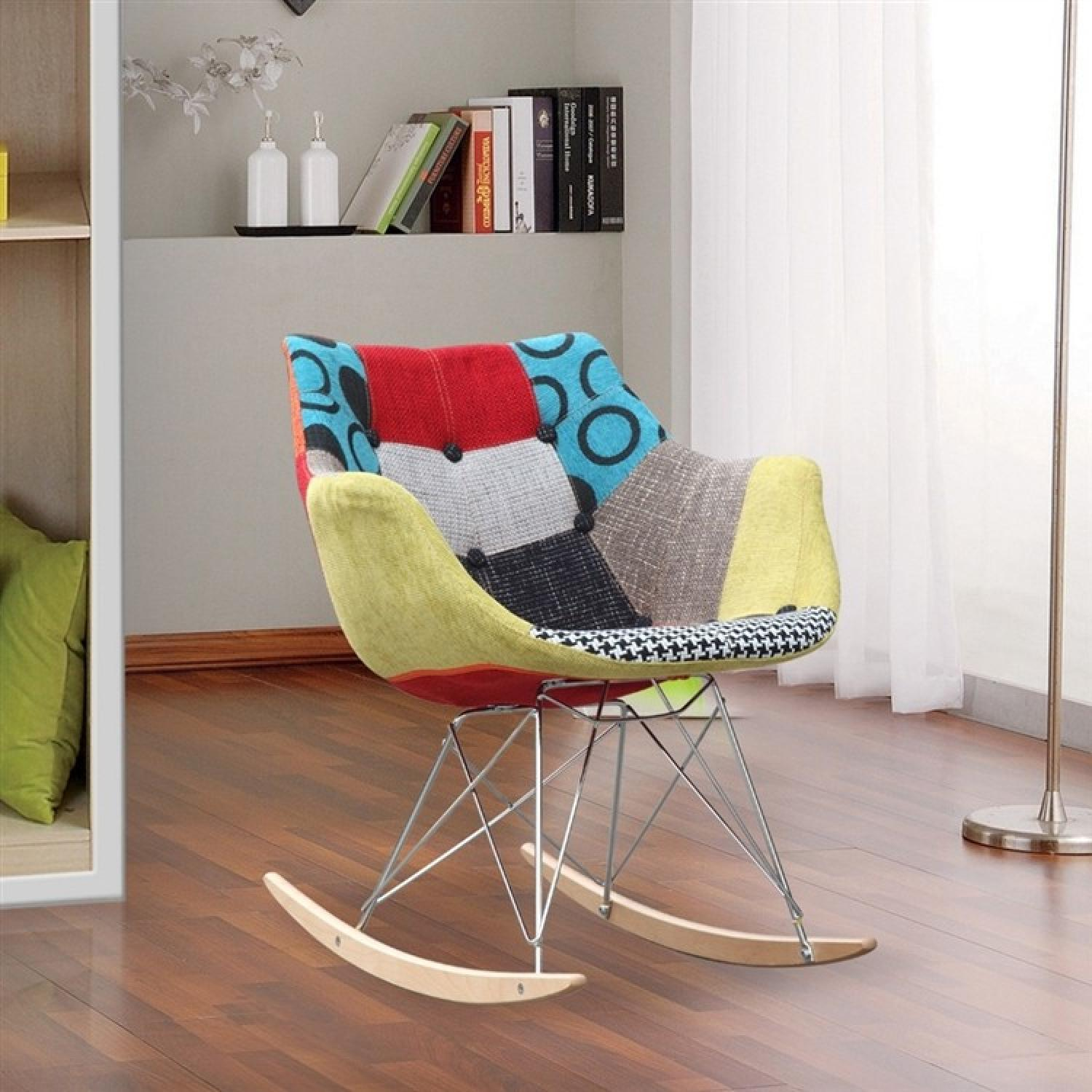 ab rocker chair all modern white dining chairs rocking w colorful fabric print in abs frame aptdeco