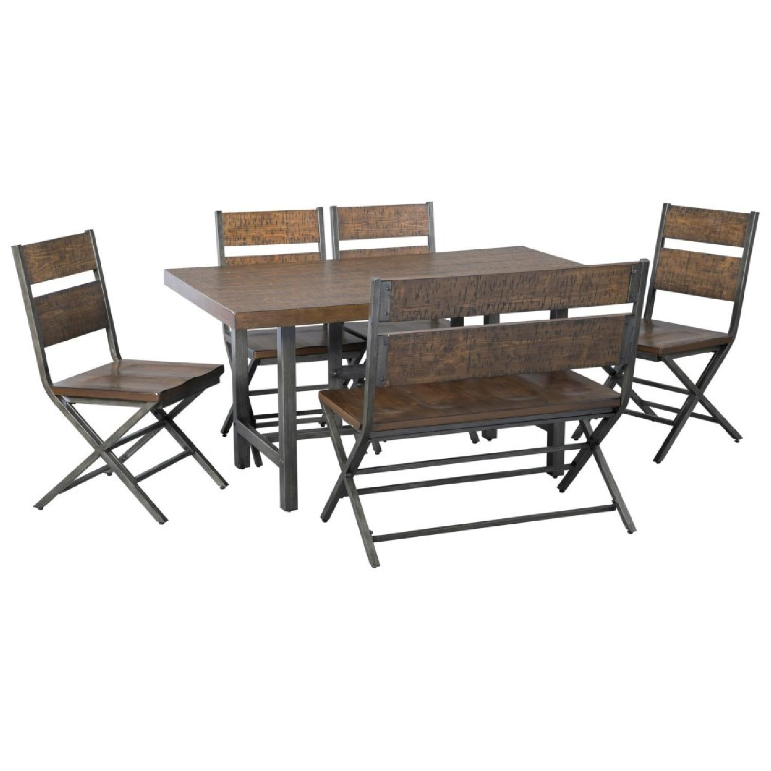 Ashley Chairs Ashley Distressed Counter Farm Table W Bench 4 Chairs