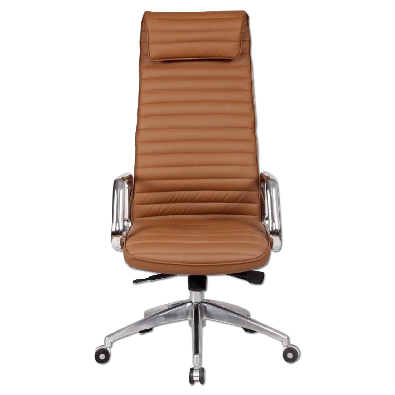 Steel Frame High Back Office Chair w Padded Seat   AptDeco